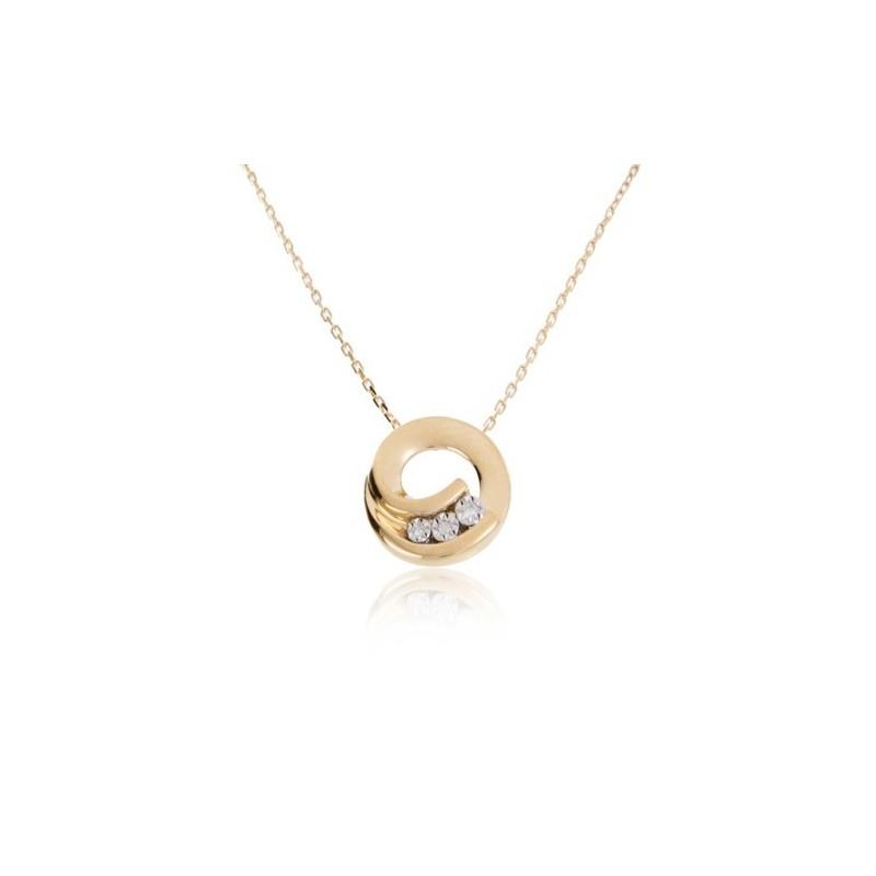 Círculo Colar 3 Diamantes