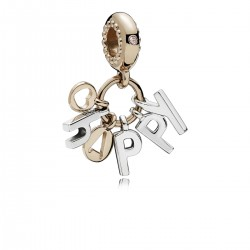 PANDORA - CHARM ROSE HAPPY PLATA Y ORO