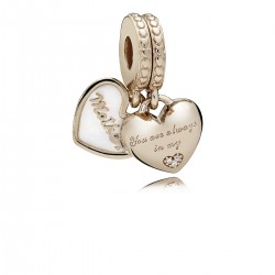 "PANDORA - CHARM ROSE ""MOTHER"" CORAZONES PLATA Y ORO"