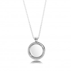 PANDORA - COLLAR LOCKET CIRCONITA PLATA