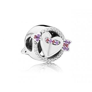 Pandora -  Charm Coração e Flecha Rosa