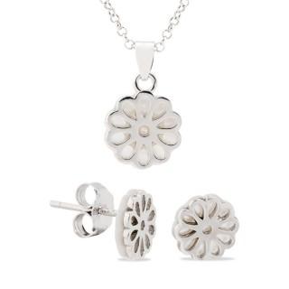 f05d707633ee Conjunto Collar y Pendientes Flor Nácar