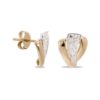 Pendientes de oro en forma triangular con diamante de 0,08 CT