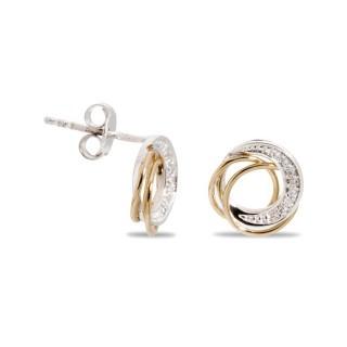 Pendientes de oro en forma circular con diamante de 0,062 CT