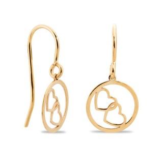 Brincos de ouro em formato de 2 corações