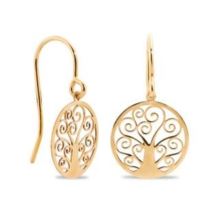 Pendientes de oro en forma de árbol