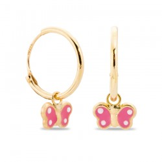 Pendientes de oro en forma de mariposa rosa