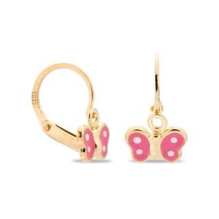 Pendientes de oro en forma de mariposa rosa y blanca