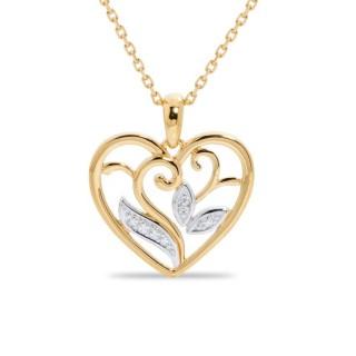 Colar de ouro 9 KT e zircônia em forma de coração 42 + 3 cm