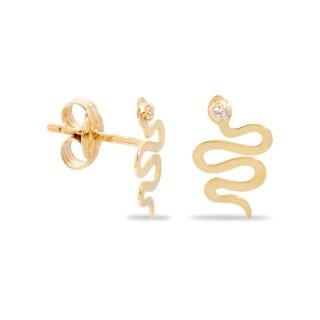 Pendientes de oro y circonita en forma de serpiente