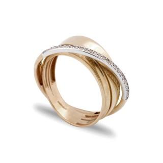 Anillo de oro en forma cruzada con diamante de 0,125 CT