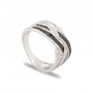 Anillo de oro blanco 18 KT en forma entrelazada con diamante