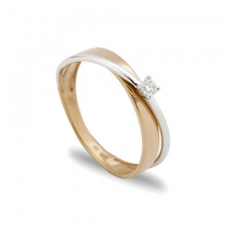 Anillo de oro en forma cruzada con diamante central de 0,06 CT