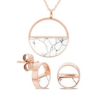 Conjunto de collar y pendientes de acero en forma de medio círculo con mármol blanco