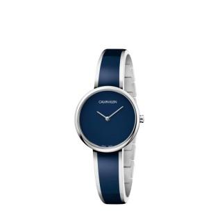 Relógio Calvin Klein K4E2N11N Seduce feminino com pulseira de aço/resina azul, 3 ATM