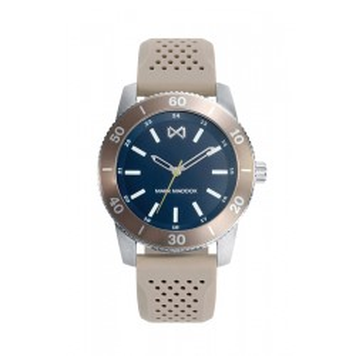 Relógio Mark Maddox HC7124-36 masculino com pulseira de silicone cinza e mostrador azul, 5 ATM