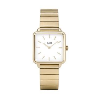 Relógio Cluse Tétragone CL60023S para mulher de aço chapado, 3 ATM