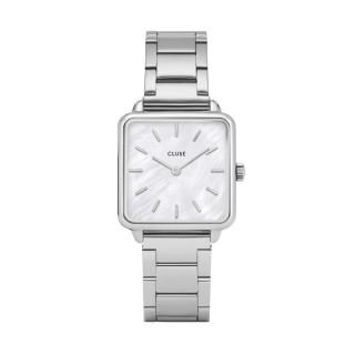 Relógio Cluse Tétragone CL60025S para mulher de aço e mostrador branco, 3 ATM