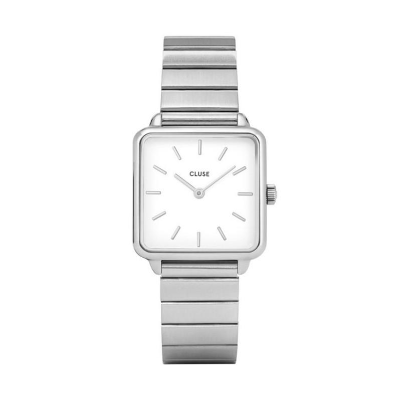 Reloj Cluse Tétragone CL60022S para señora de acero y esfera blanca, 3 ATM
