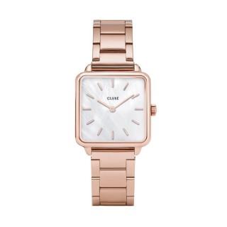 Reloj Cluse Tétragone CL60027S para señora de acero rose gold y esfera de nácar, 3 ATM
