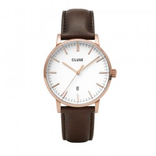 Reloj Cluse Aravis CW0101501002 para caballero de cuero marrón y esfera blanca
