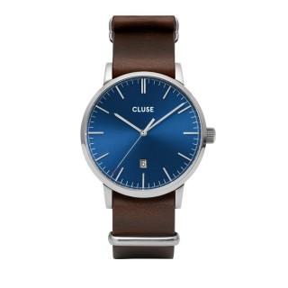 Reloj Cluse Aravis CW0101501008 para caballero con correa de cuero marrón y esfera azul