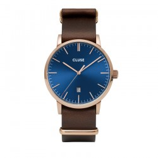 Relógio Cluse Aravis CW0101501009 para homem com pulseira de marrom e mostrador azul