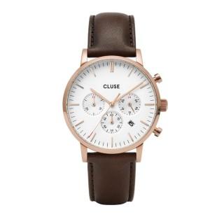 Relógio Cluse Aravis CW0101502002 para homem com pulseira marrom e mostrador branco