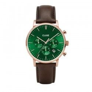 Relógio Cluse Aravis CW0101502006 para homem com pulseira marrom e mostrador verde