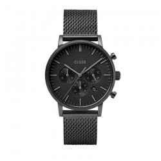 Relógio Cluse Aravis CW0101502007 para homem com pulseira milanesa preta e mostrador preto