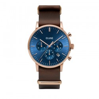 Relógio Cluse Aravis CW0101502008 para homem com pulseira marrom e mostrador azul