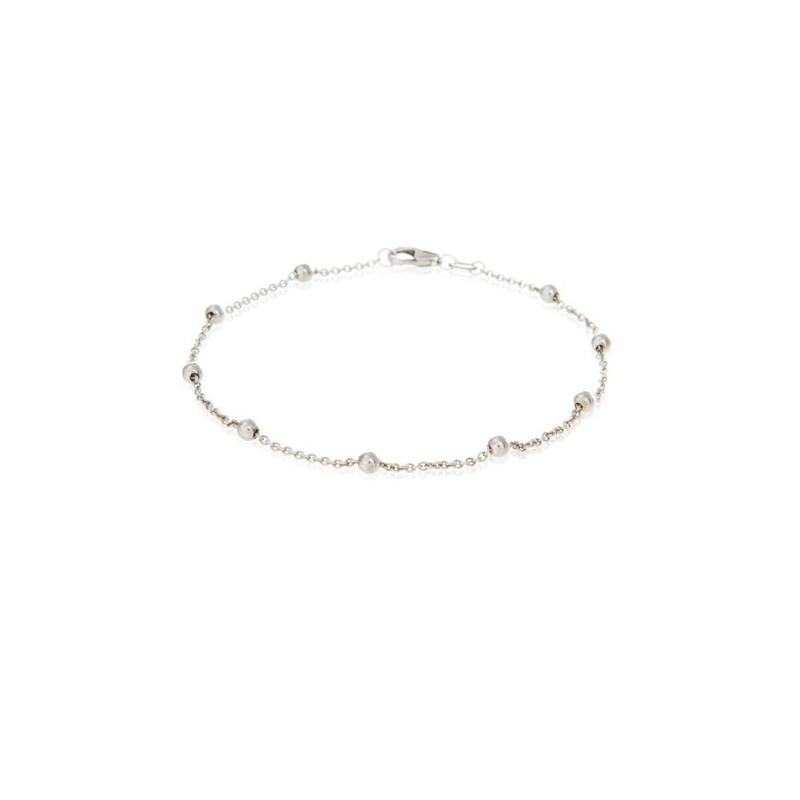 Pulsera de plata en forma de cadena de bolitas, 16 + 3 cm