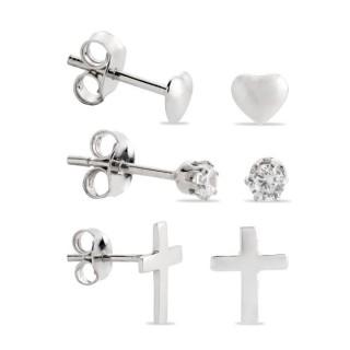 Conjunto de 3 brincos de prata em forma de cruz, coração e chatón zircônia