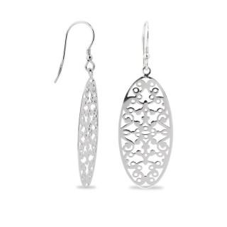 Brincos de prata em forma oval com filigrana