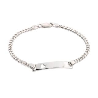 Pulsera identidad de plata con detalle en forma de corazón, 19 cm