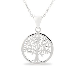 Colar de prata com detalhe em forma de árvore circular, 42 + 3 cm