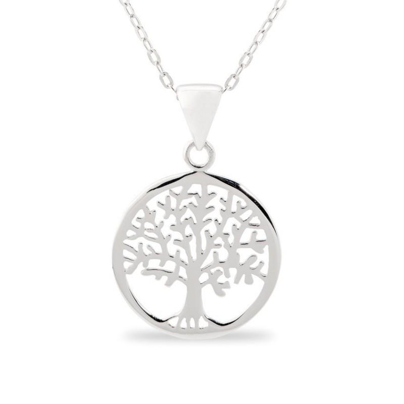 Collar de plata con detalle en forma de árbol circular, 42 + 3 cm