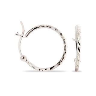 Brincos de prata rodiada tipo aro diamantado, 15 mm