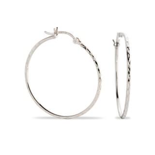 Brincos de prata rodiada tipo aro diamantado, 30 mm