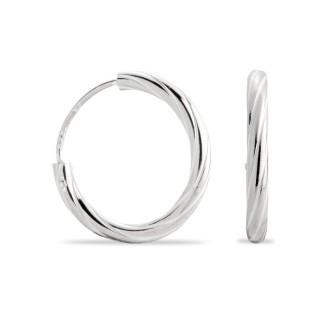 Brincos de prata rodiada tipo aro largo, 15 mm