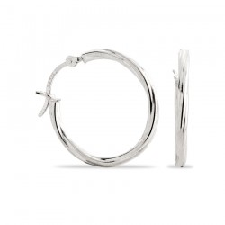 Pendientes de plata rodiada tipo criolla trenzada, 25 mm