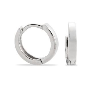 Brincos de prata rodiada tipo aro largo, 12 mm