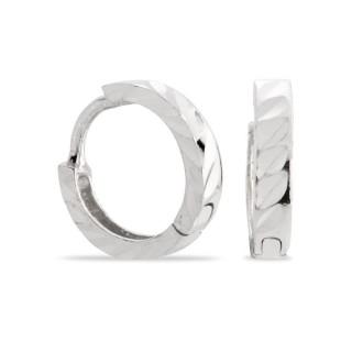 Brincos de prata rodiada tipo aro trançado, 10 mm