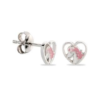 Brincos de prata em forma de coração e unicórnio esmaltado em rosa