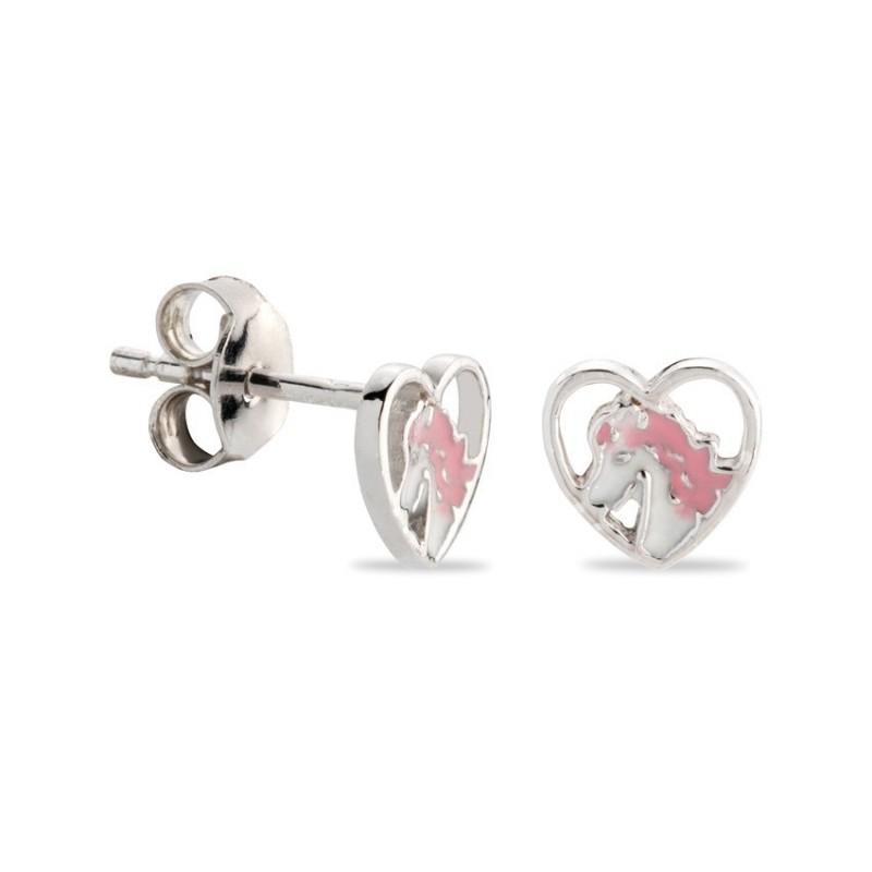 Pendientes de plata en forma de corazón y unicornio esmaltado en rosa