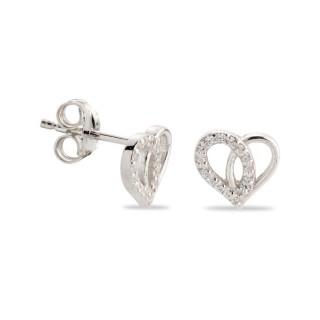 Pendientes de plata en forma de corazón con circonita