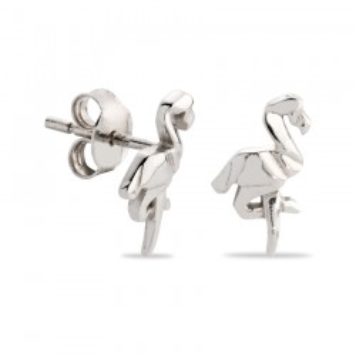 Brincos de prata em forma de flamingo
