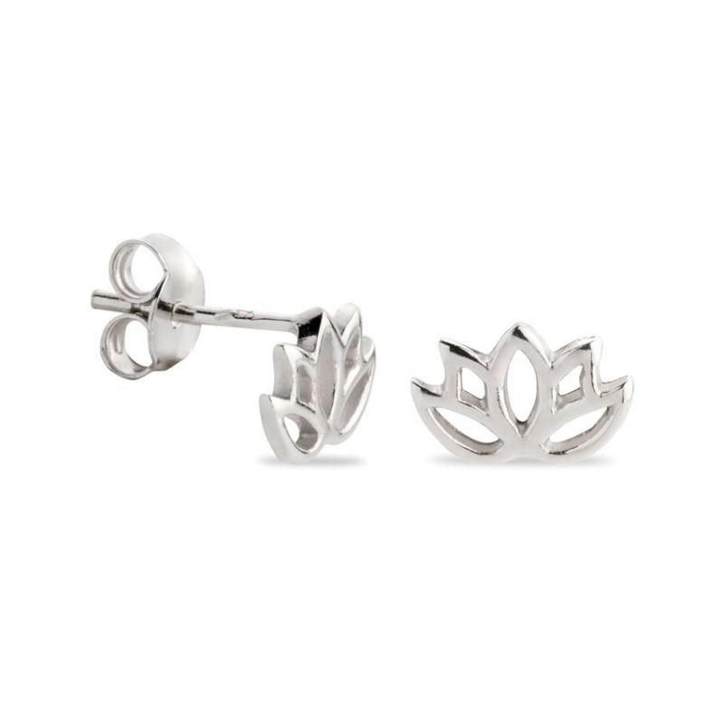 Pendientes de plata en forma de flor de loto