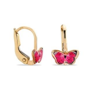 Brincos de ouro em forma de borboleta rosa