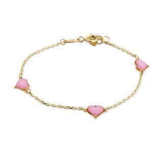 Pulsera de oro con detalle en forma de 3 corazones con esmalte rosa
